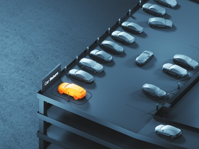 Car Scanner // Rental auto cars parking lot rental airport parking website industrial illustration web render product design minimal landing design automotive 3d