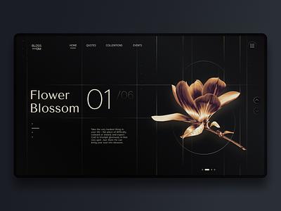 Flower Blossom | Landing page floral style kate golden beautiful landing page landing gold contrast flower photoshop dark theme uiux concept webdesign ux ui design