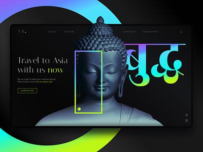 Asia Tours & Travel Experiences web design poster landing travel asia buddha neon dark theme web concept webdesign ui design