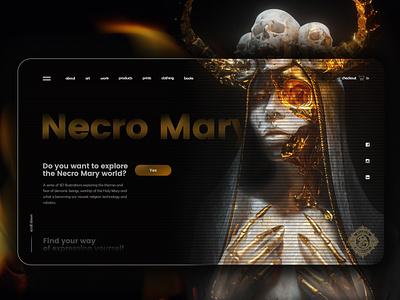 Necro Mary   Main page gold web dark theme concept webdesign ui design