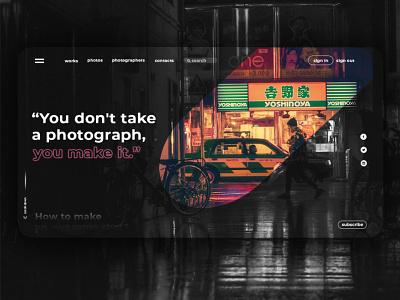 Photography Website uiux app concept ux ui design web color photoshop photography main page blak and white mask webdesign website
