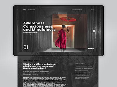 MINDFULNESS | Landing Page interface creative mental health typogaphy web uiux concept webdesign ux ui design landing page concept