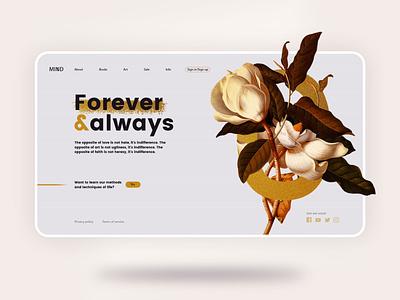 Floral Landing Page letter typography creative contrast clean xd adobe xd photoshop illustration web uiux concept webdesign ux ui design