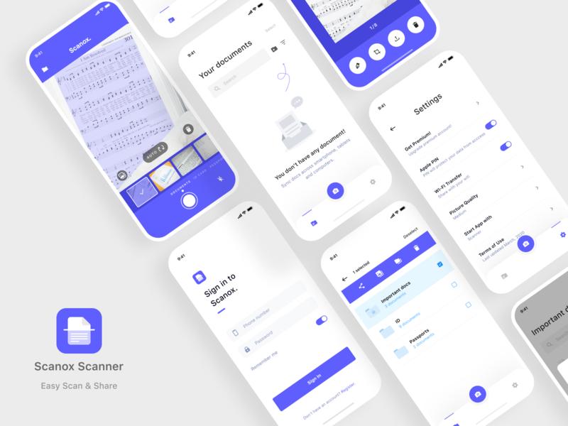 Scanox App app store clean design ui ux app pdf scanner scanox scan