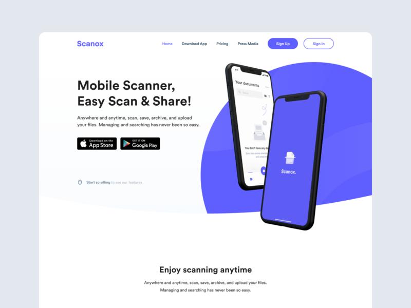 Scanox Landing Page app store mobile app hero landing page