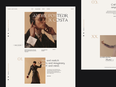 Andre and Costa — Collections Page landing page ui shopping fashion design brutalist design editorial design store design fashion brutal editorial shopify ecommerce store