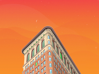 Flat Iron - new york city flat iron building illustration