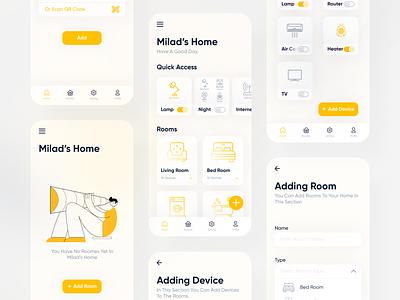 Smart Home Application 🏡 material ui materialdesign material iconly yellow home smarthome smart illustration app ux persian iran flat figma design color ui