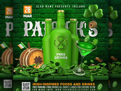 Saint Patrick's Day Template party bash invitation template flyer st patricks day pot of gold irish pub irish festival drinks celebration
