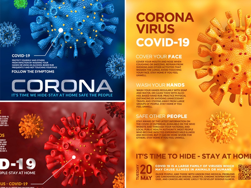 Coronavirus Covid-19 Flyers illustration poster template virus quarantine print pandemic outbreak medicine flyer epidemic covid-19 coronavirus corona bacteria 3d
