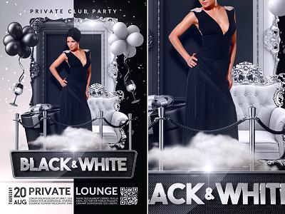 Black & White Flyer Template nightlife nightclub night luxury lounge ladies night out ladies night ladies glamorous girl flyer drinks club black and white