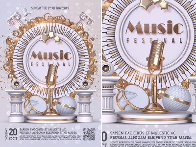 Music Festival Flyer nightclub poster template party white print ready music flyer music festival music jazz flyer festival cover concert club flyer classical