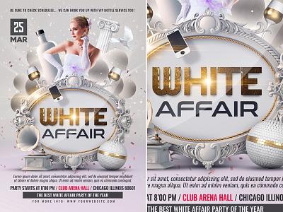 White Affair Flyer Template poster nightclub party template white affair ladies night invitation girls night out drinks club birthday bash anniversary after work affair