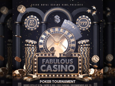 Golden Casino Template club poster template flyer gambling gamble dollar dice chips challenge casino night casino flyer casino blackjack black