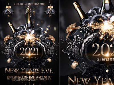 New Year Party Flyer template illustration event poster winter party new year party new year flyer new year invitation christmas flyer christmas champagne celebration
