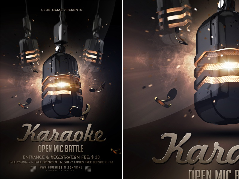 Karaoke Open Mic Battle Flyer by Rembassio_Rojansson on Dribbble