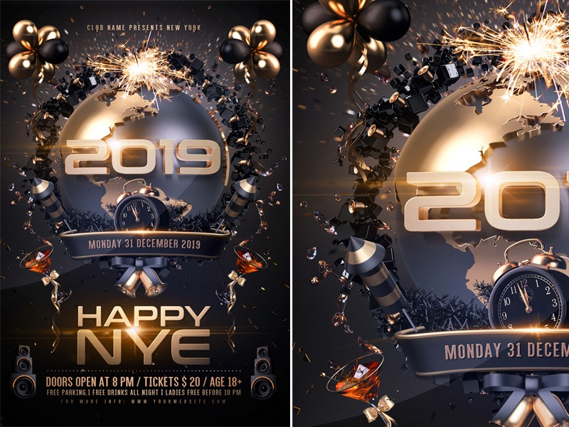 new year party flyer by rembassio rojansson dribbble dribbble