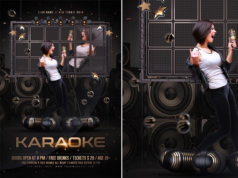 karaoke flyer template by rembassio rojansson