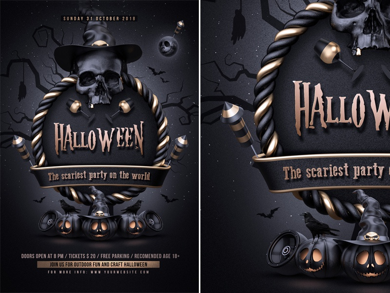 halloween party flyer template by rembassio rojansson dribbble