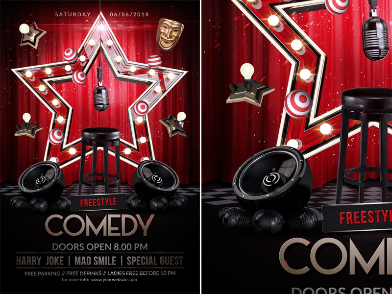Comedy Flyer Template By Rembassio Rojansson On Dribbble