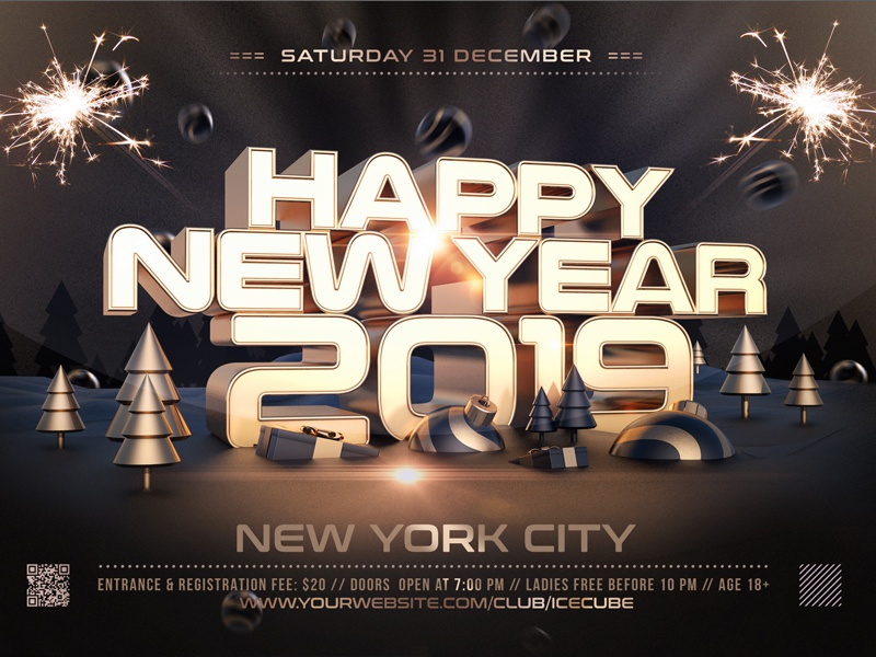 Golden New Year Flyer Template Bash 3d Anniversary Celebration Invitation Poster Holiday Merry Christmas