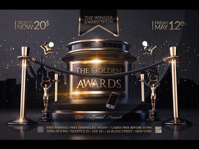 Golden Awards Flyer world awards world template oscar movie awards luxury invitation golden night golden awards golden globe glamour gala flyer exclusive deluxe celebration celebrate award anniversary
