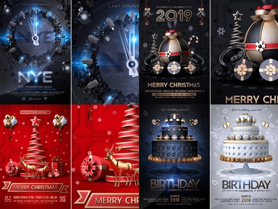 2018 merry christmas birthday bash nightclub party poster anniversary template celebration event