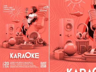 Summer Karaoke Party Poster bash poster template summer star stage sing party open mic music microphone mic karaoke flyer karaoke flyer club