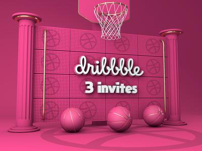 Dribble Invite basketball event logo 3d hello world invite invite friends dribbble invitation hello