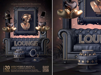 Vip lounge Birthday Poster nightclub flyer party invitation lounge vip template poster classy celebration birthday poster birthday anniversary poster anniversary