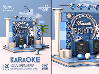 Karaoke Party Flyer club flyer karaoke karaoke flyer mic microphone music open mic party sing stage star summer template poster bash