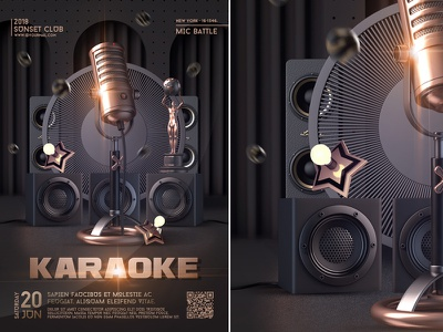 Karaoke Night Flyer luxury club party flyer bash nightclub event invitation template star stage singer sing open mic music microphone live karaoke poster karaoke night karaoke