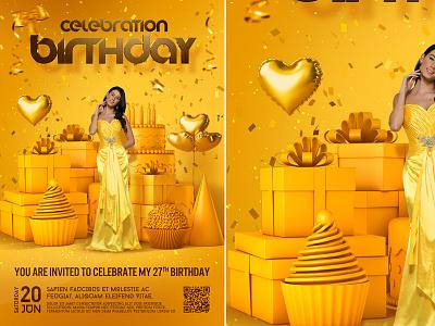 Birthday Party Flyer yellow design birthday bash poster club nightclub birthday flyer birthday luxury bash template anniversary invitation celebration party flyer