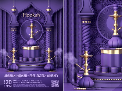 Arabian Hookah Poster poster nightclub template party oriental narghila lounge hookahs night hookah flyer hookah event bar hookah coals