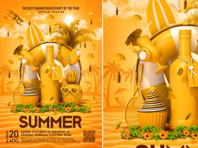 Summer poster poster yellow tropical template summer bash summer flyer summer festival summer cocktail beach party beach flyer beach