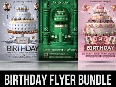 Birthday Flyer Bundle Only $8 dance bar modern club event luxury bash nightclub discount bundle birthday invitation poster party anniversary celebration template flyer