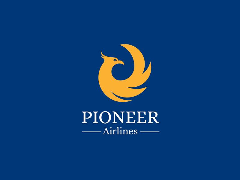 Pioneer(Airlines) - Day 12 - Daily logo challenge phoenix photoshop vector art branding illustration airtrack skybound icon ux ui logo dailylogochallenge day12 pioneer airlines