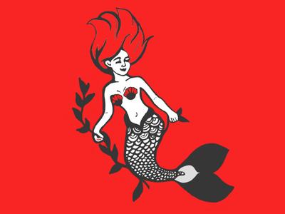 RED MERMAID siren red hair branding logo print design mermaid illustration