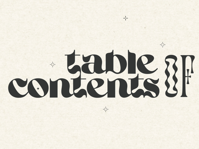 Table of Contents II display displaytype retro typography print print design graphic design tableofcontents table of contents