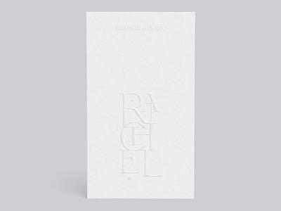 RL ᛫ HMU white on white embossed embossed lettering personal branding lettering typography graphic design branding business card design