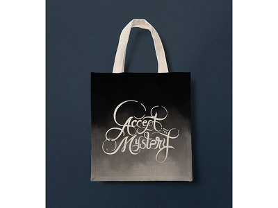 A.T.M 🔮CANVAS BAG bag mockup canvas bag mockup tote bag texturized typography lettering black and white mystery accept the mystery