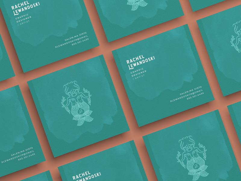 Square Business Card mockup illustration branding mermaid graphic design business cards