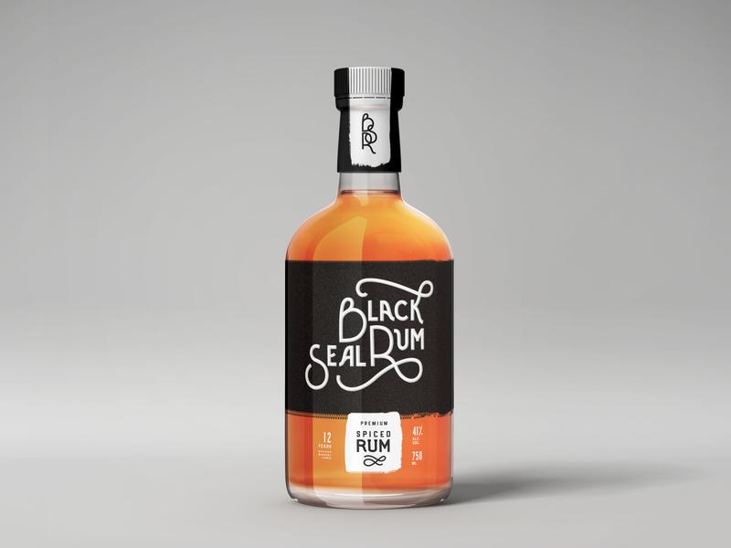 BLACK SEAL RUM / bottle blacksealrum rum typography hand lettering logo design branding label design alcohol bottle bottle design product design