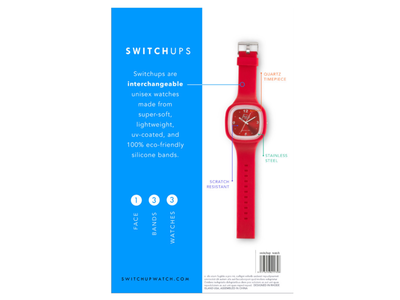 Switchups Packaging Iteration | back of box watches rebrand packaging
