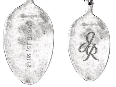 Jerry + Rose ii husbandandwife in memory initials hand lettering typography spoon keychain metal etching etching spoon engraving spoon