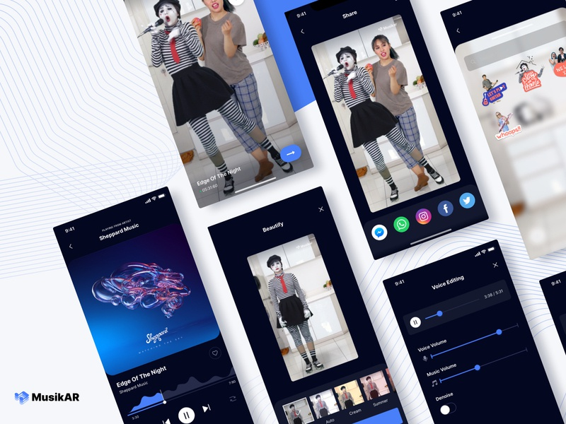 Mixed Reality | Sing with Your Favourite Musicians music app product design music streaming music player uiux ux ui sixty two sixtytwo mixed reality application socialdistancing xr sing karaoke augmented reality app