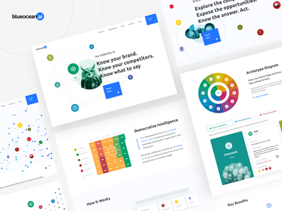 Blueocean | Marketing Pages web design product design ai dashboard design dashboard ux ui charts brand voice branding brand identity brand analytics benchmark archetypes artificial intelligence aidentity