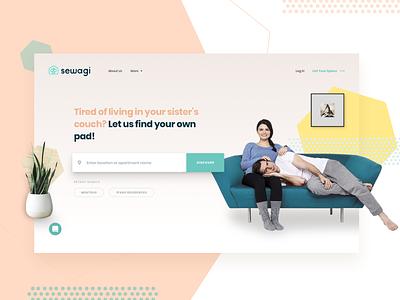 Sewagi Co-living | Landing Page desktop social lifestyle experience community rental housing rent landing page coliving co-living