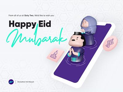 AR Greeting Card | Happy Eid Mubarak greetings characters 8thwall webar xr mixedreality augmentedreality eid