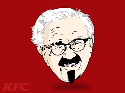 KFC 🍗🍗🍗 illustrator art artwork vectorart portrait art portrait character cartoon colonel flat head vector kfc illustration food design color chicken